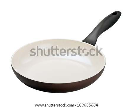 Brown frying pan with ceramic coating - stock photo