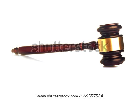 brown gavel with golden ornament on white background - stock photo