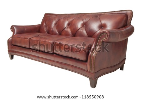 brown genuine sofa isolated on white. - stock photo