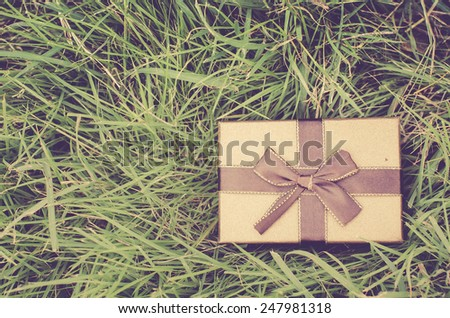 Brown gift box on green grass outdoor. Photo vintage filter effect. - stock photo