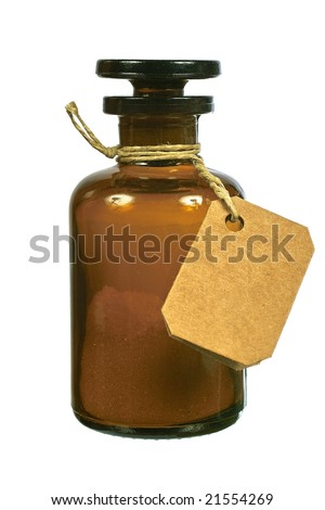 Brown glass bottle front view isolated on white background - stock photo