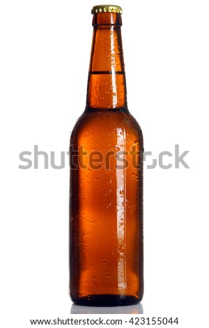 brown glass bottle with light beer on white isolated background