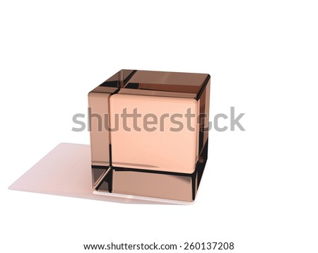 Brown Glass cube isolated on white