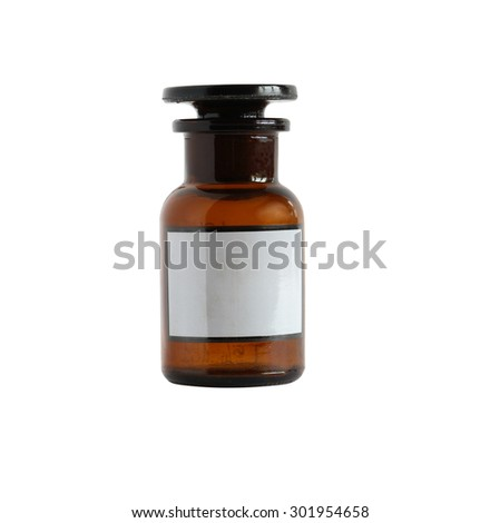Brown glass pharmaceutical phial isolated on white background with clipping path