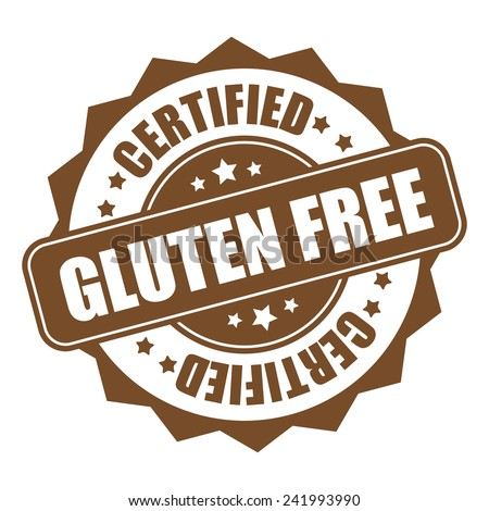 Brown gluten free certified icon, tag, label, badge, sign, sticker isolated on white - stock photo