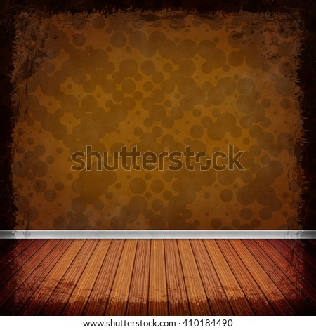 Brown, Gold grunge background. Old abstract vintage texture with frame and border. 3D illustration