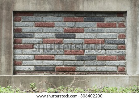 Brown, gray, black and cement block brick textured background