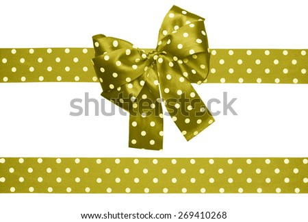 brown green bow and ribbon with white polka dots made from silk isolated - stock photo