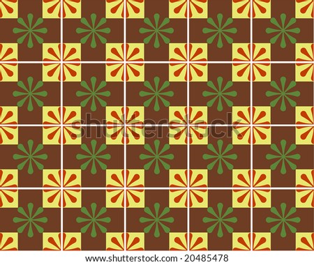 Brown, green, red and yellow tiles.