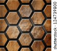 Brown Grunge Background with Hexagons / Rusty and brown grunge template with hexagons on a metallic and black background - stock photo