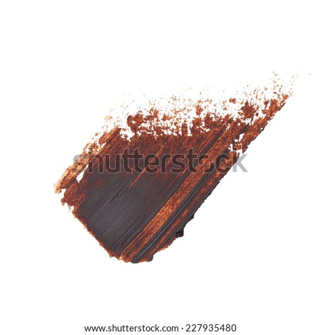 brown grunge brush strokes oil paint isolated on white - stock photo