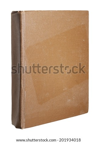 brown grunge dusty book isolated on white background - stock photo