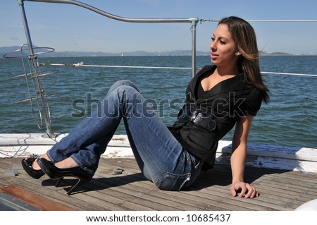 Brown haired beauty on a boat in San Francisco Bay