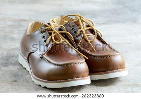 Brown handmade leather shoes /Leather man's shoes - stock photo