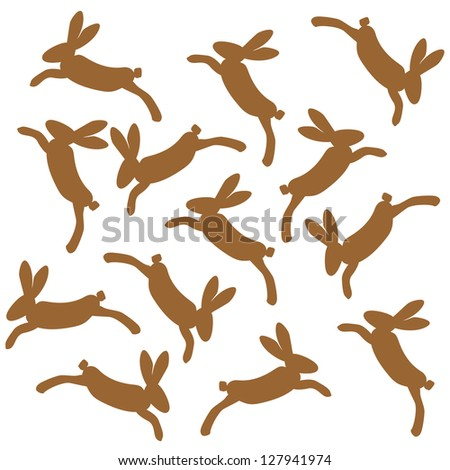 brown hare jumping