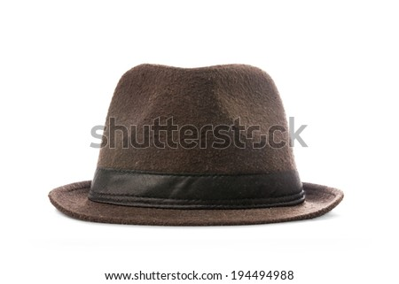 Brown hat isolated on white background. - stock photo