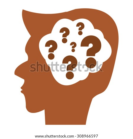 Brown Head With Question Mark Brain Infographics Flat Icon, Sign Isolated on White Background
