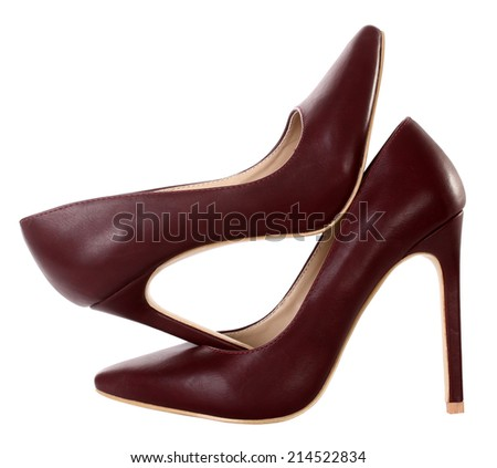 Brown high heels pump shoes - stock photo