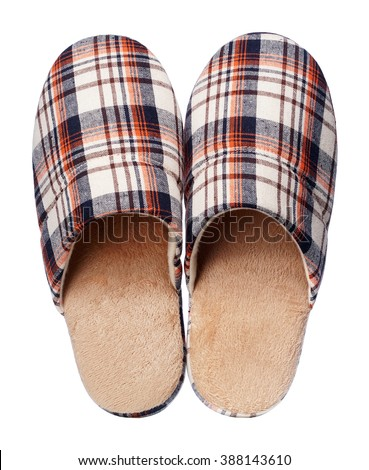 Brown Home slippers isolated on white background - stock photo