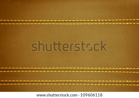 brown  horizontal stitched leather background, art textures - stock photo