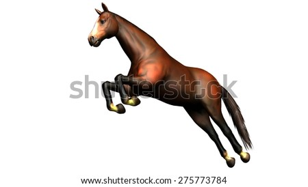 brown horse jump isolated on white background