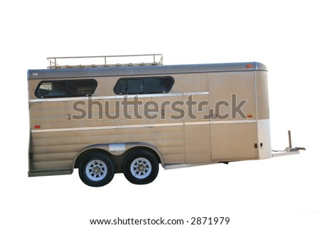 Brown horse trailer isolated