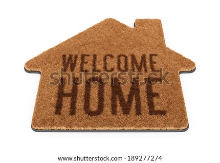 Brown house shape coir doormat with text Welcome Home isolated on white background - stock photo
