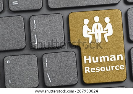 Brown human resource key on keyboard - stock photo