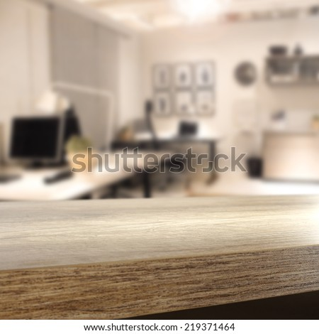 brown interior of office and free space on brown desk place  - stock photo