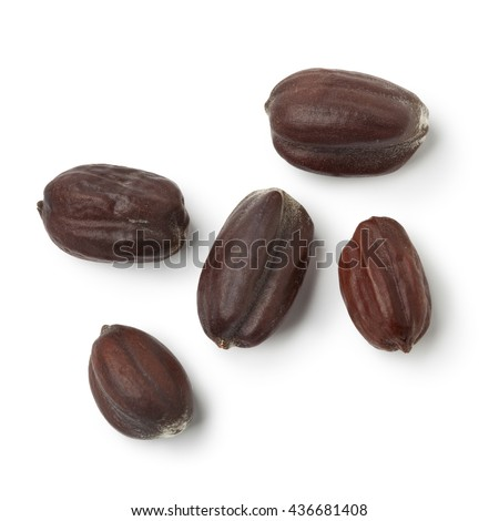 Brown Jojoba seeds on white background