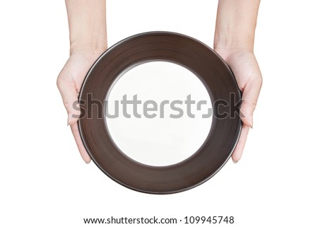 Brown kitchen plate a hand holding from top view on background white - stock photo