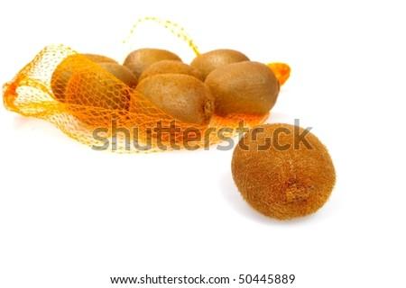 brown Kiwi fruit isolated on white background - stock photo