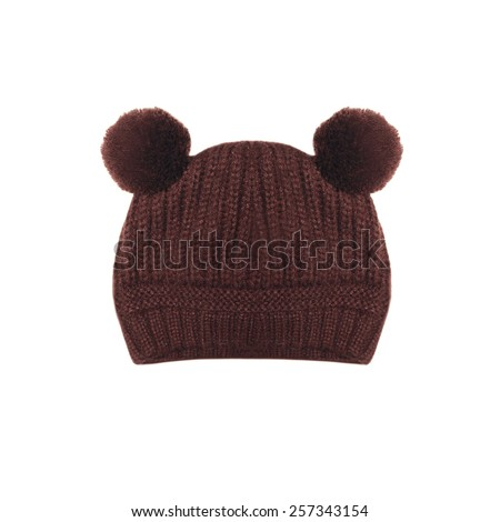 Brown knitted hat with ears bear on a white background - stock photo
