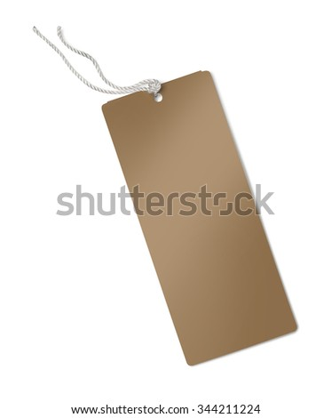 brown label (tag) isolated on white background with clipping path