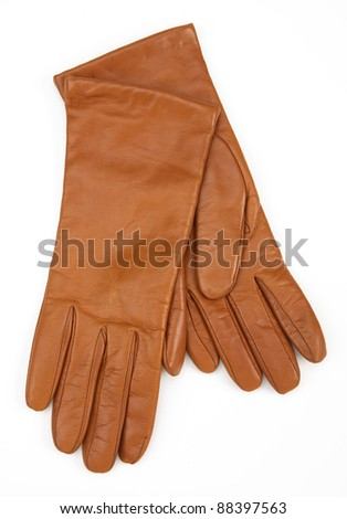 brown ladies leather gloves isolated on white background