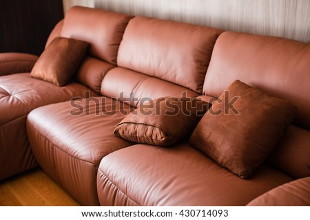 Brown Leather And Plush Leather Furniture, A Nice Relaxing Watching TV  Pillow Is Made With