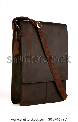 brown leather bags with antique and retro looks  made from goat's skin for travel,students,executives,ladies handbags  - isolated on white shot in different layouts straight, back, open and lay flat