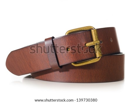 brown leather belt cut out from white background - stock photo