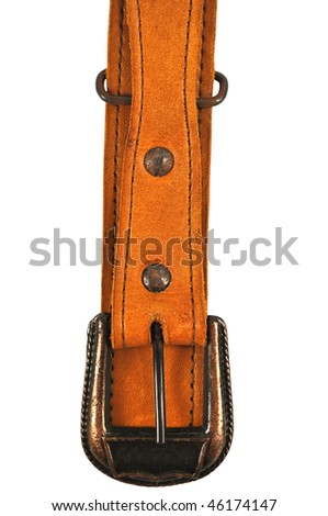Brown leather belt isolated on a white background - stock photo