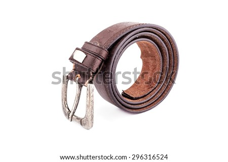 Brown leather belt isolated on white