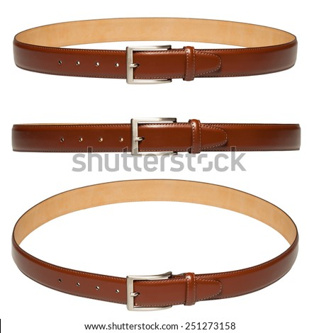brown leather belt isolated on white background - stock photo