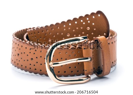 Brown leather belt on a white background - stock photo