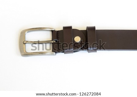 brown leather belt on white