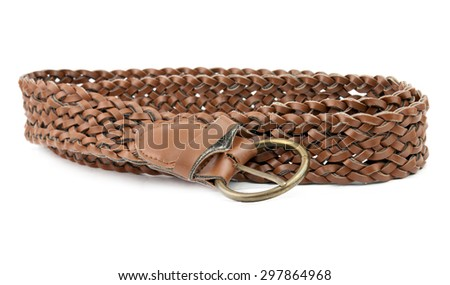brown leather belt with buckle isolated on white - stock photo