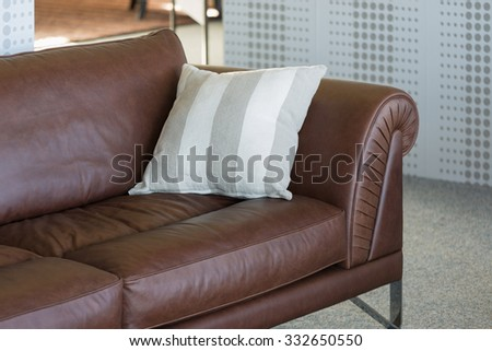Brown leather bench in a furniture showroom
