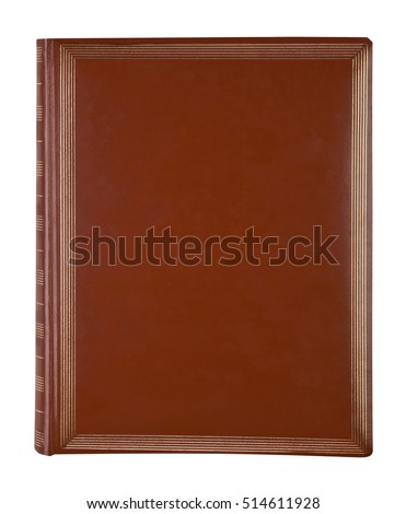 Brown leather book cover isolated on white