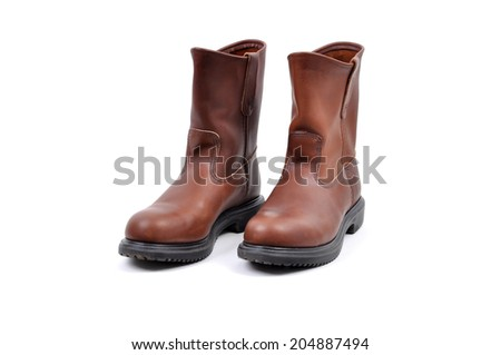 Brown Leather Boots isolated on white background - stock photo