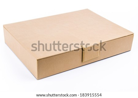 Brown leather box on isolated white background - stock photo
