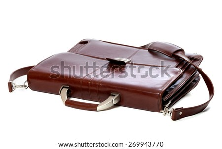 Brown leather briefcase. Isolated on white background. - stock photo