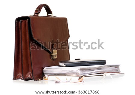 Brown leather briefcase with folders, isolated on white background